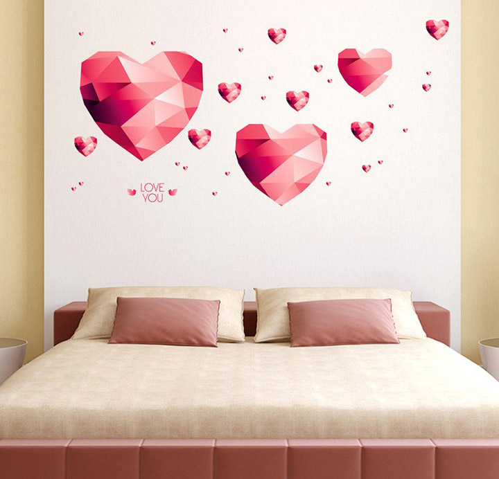 red 3d diamond heart wall sticker