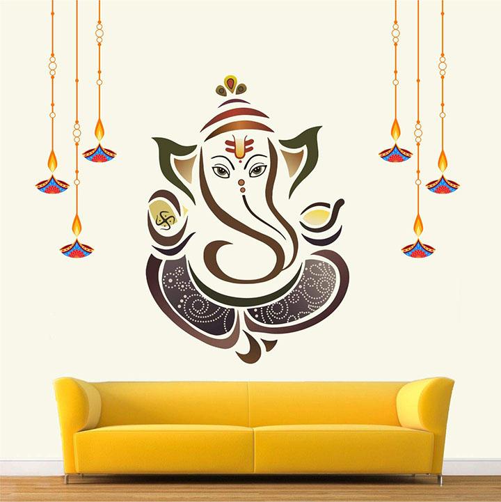 'shree ganesh - ganesha - colourful wall sticker'