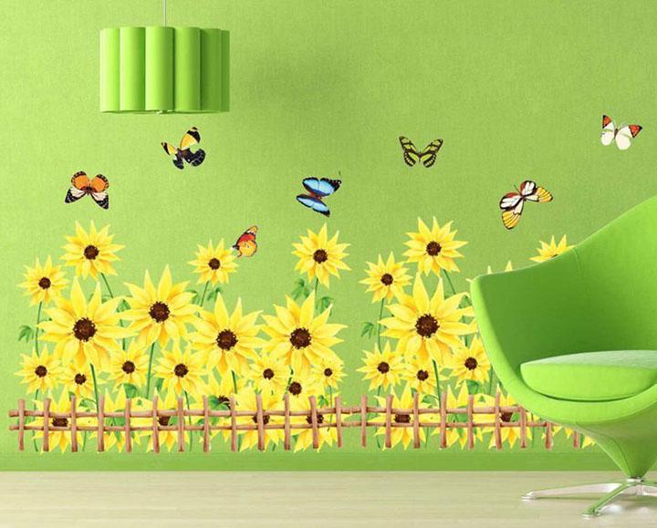 sunflower garden field around floral wall sticker