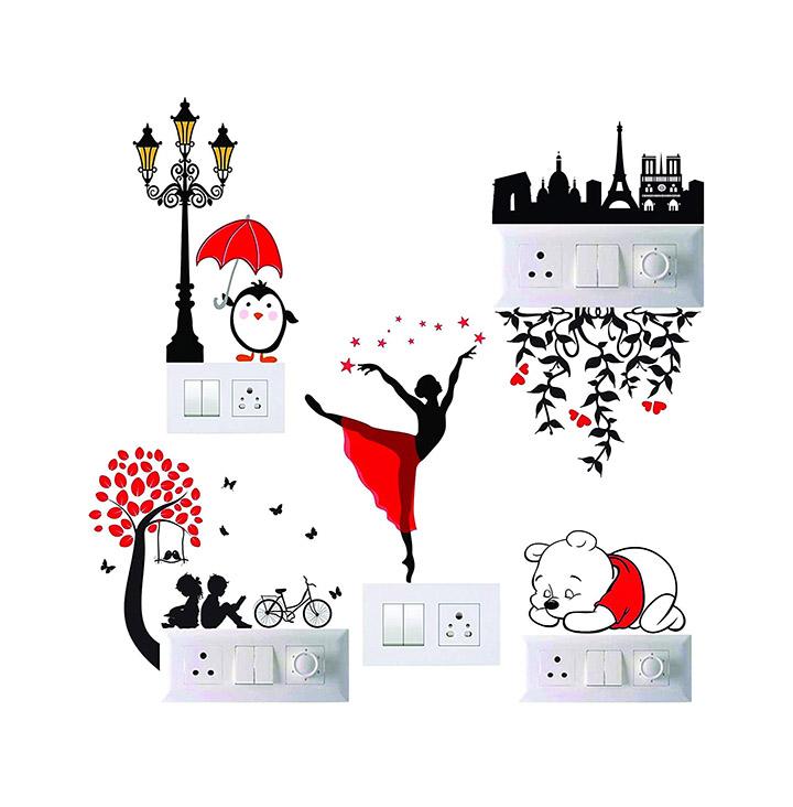 switch board sticker, penal dancing lady, couple, bear, paris love sticker