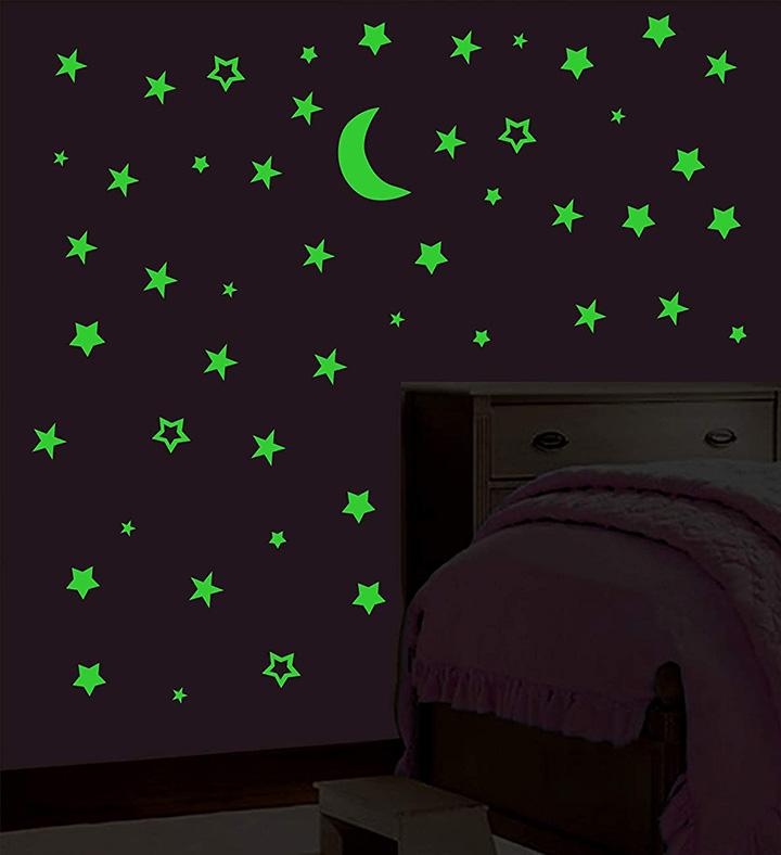 the dark galaxy of stars with moon radium night wall stickers