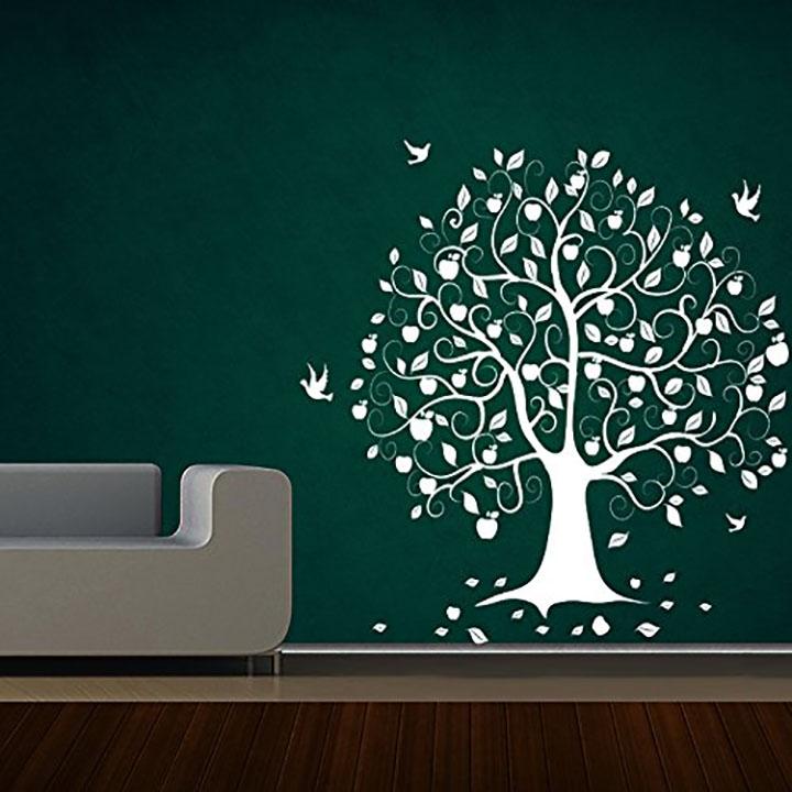 tree with birds for dark wall, wall sticker