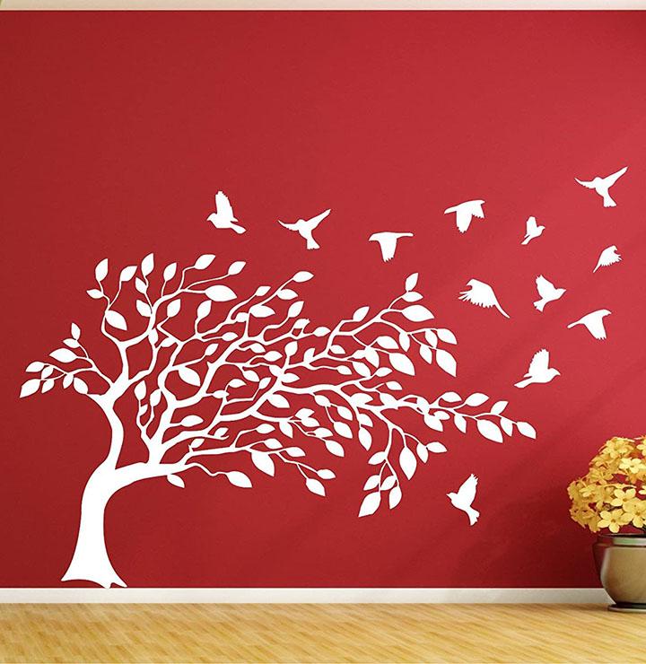 tree with birds wall stickers for dark wall, wall stickerhite bird on tree branches for dark wall, wall sticker