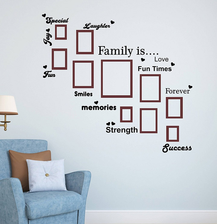 vinyl family hanging photo frame with quotes stickers