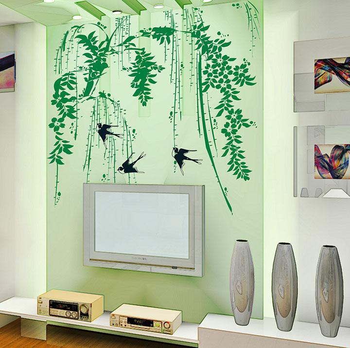 vinyl green plants for green walls, wall sticker