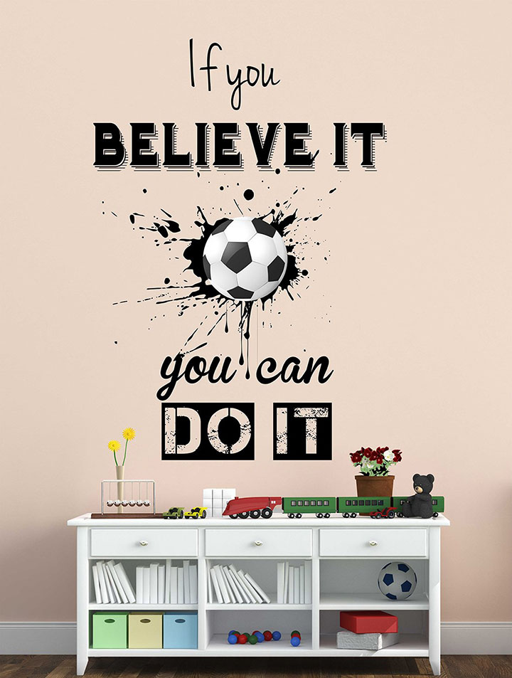 wallstick 'football with inspirational quotes' wall sticker