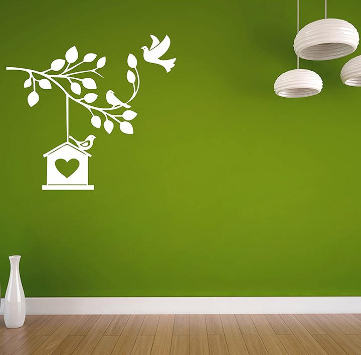 white birds with nest on dark walls, wall sticker