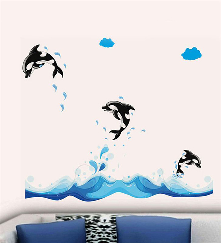3 Jumping Dolphins Wall Sticker