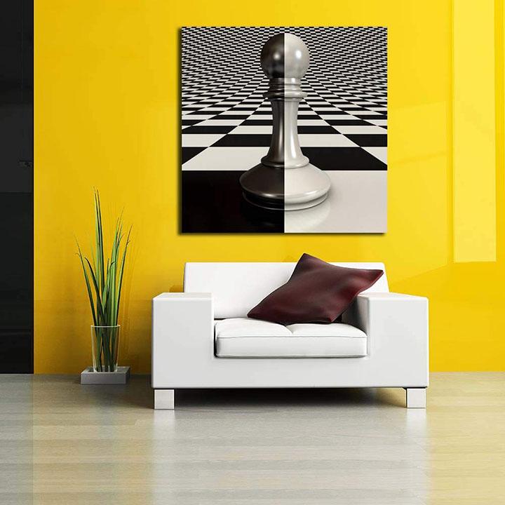 black & white pawn on chessboard wall sticker