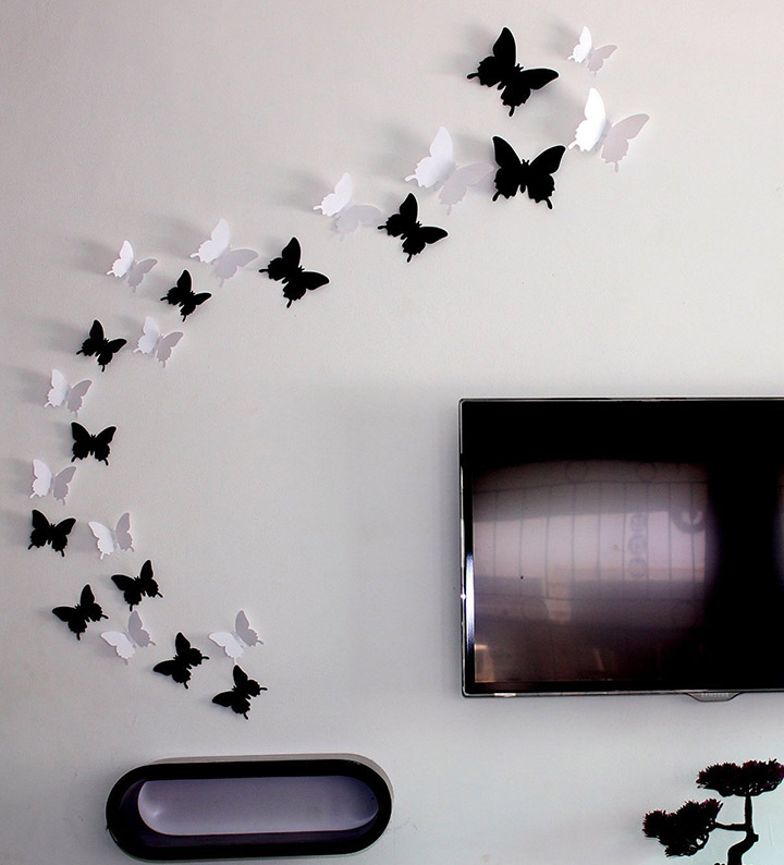 black and white 3d butterfly wall sticker