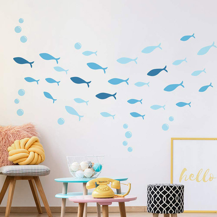 blue small multiple dolphin wall sticker