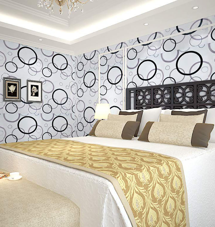 circle with black and white combination wall sticker