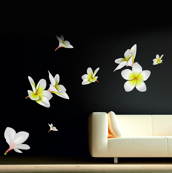decor kafe colored pvc vinyl film flowers wall sticker