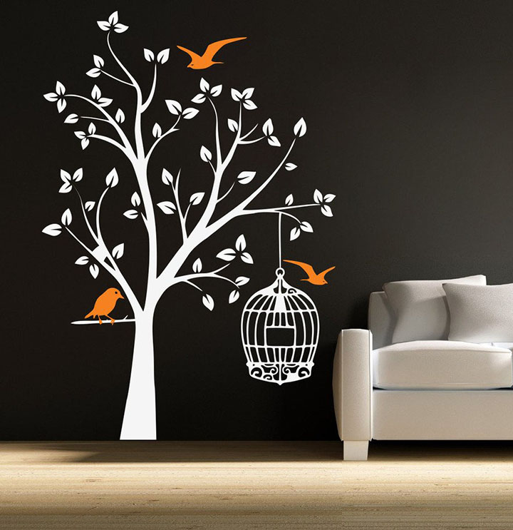 DECOR Kafe Decal Style Orange Bird and Tree Wall Sticker