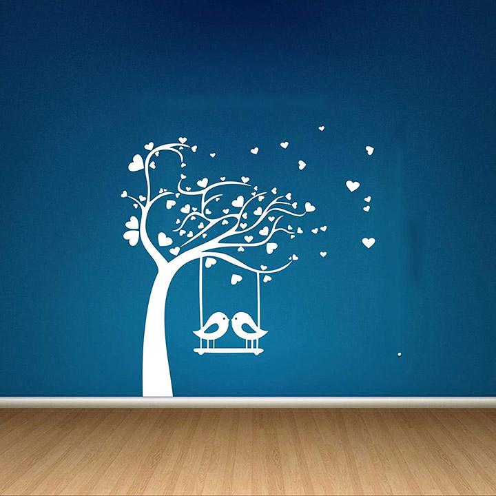 decor kafe home decor birds swings on tree wall sticker