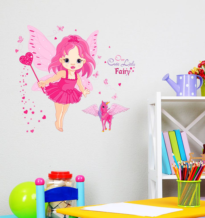 Decals Design 'Baby Girl Cartoon Cute Princess in Pink with Butterfly Wings and Unicorn' Wall Sticker