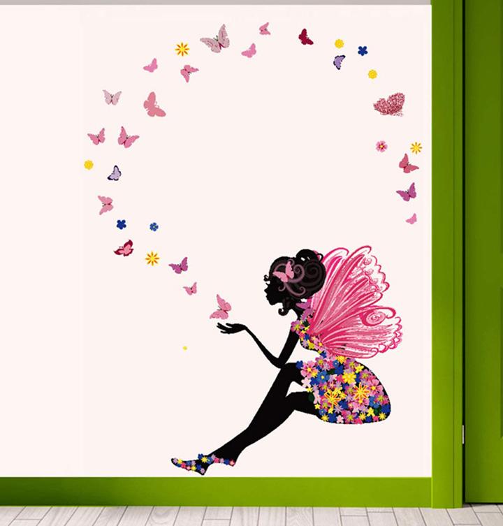 Decals Design 'Fairy with Butterflies' Wall Sticker