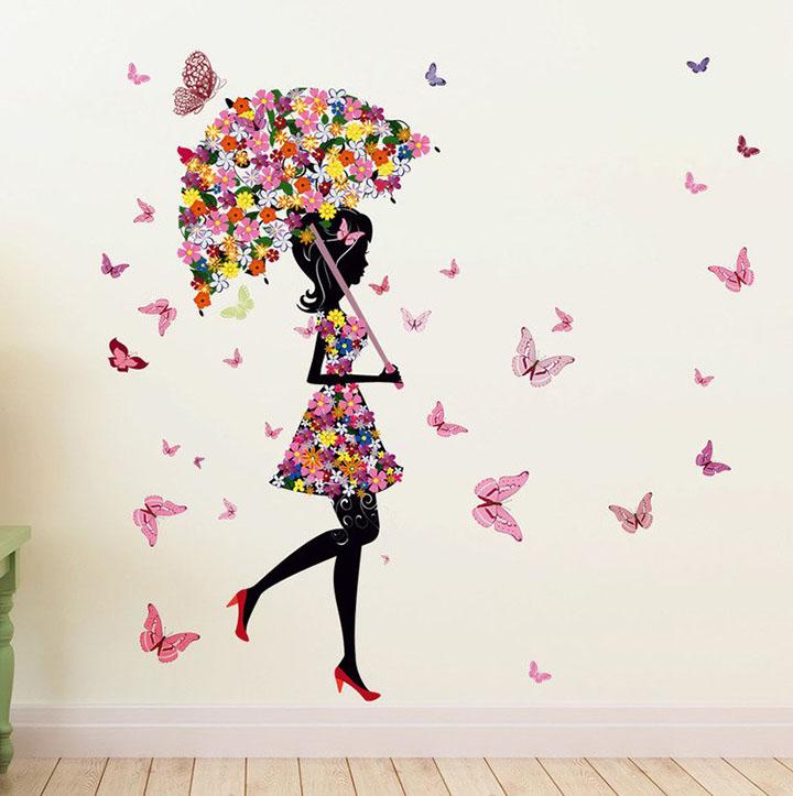 Decals Design 'Floral Umbrella Girl and Butterflies' Wall Sticker