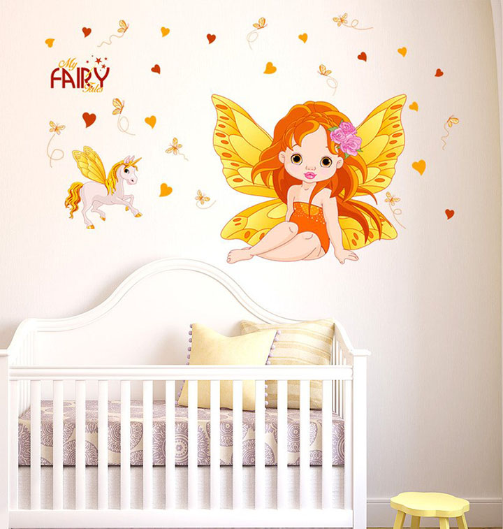 Decals Design Girl Fairy Princess with Feathers and Unicorn' Wall Sticker
