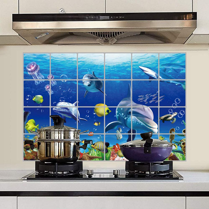 Dolphin Wall Stickers for Kitchen Protection with Anti-Marks and heat resistant