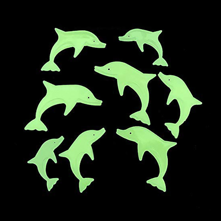 Green Color Fluorescent Glowing Dolphin Wall Stickers (Pack of 16)
