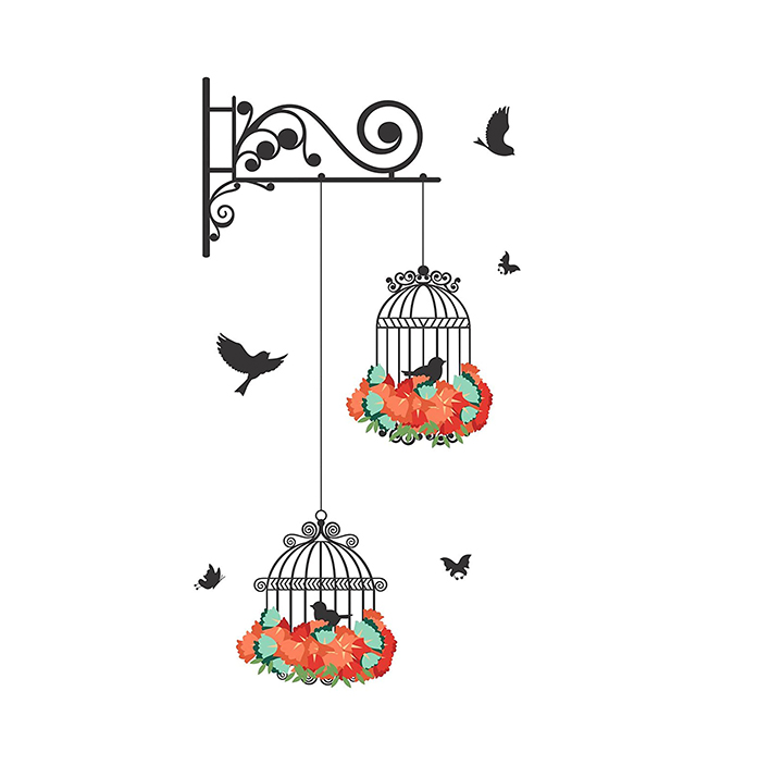 hanging bird cage with flowers wall sticker