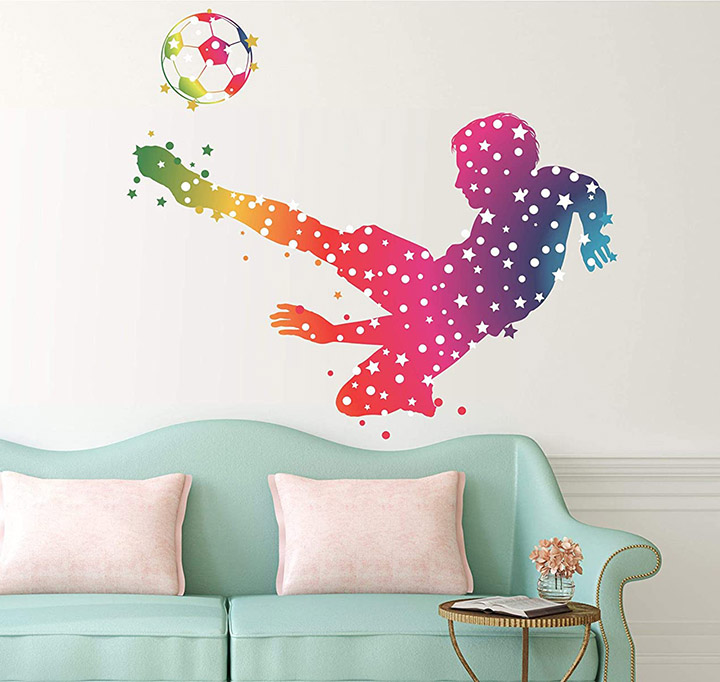 Happy Walls Animated colorful Boy with Footballs Wall Stickers