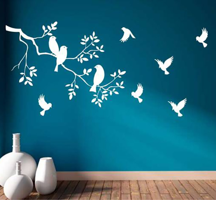 heaven decors bird on tree matte finish wall sticker