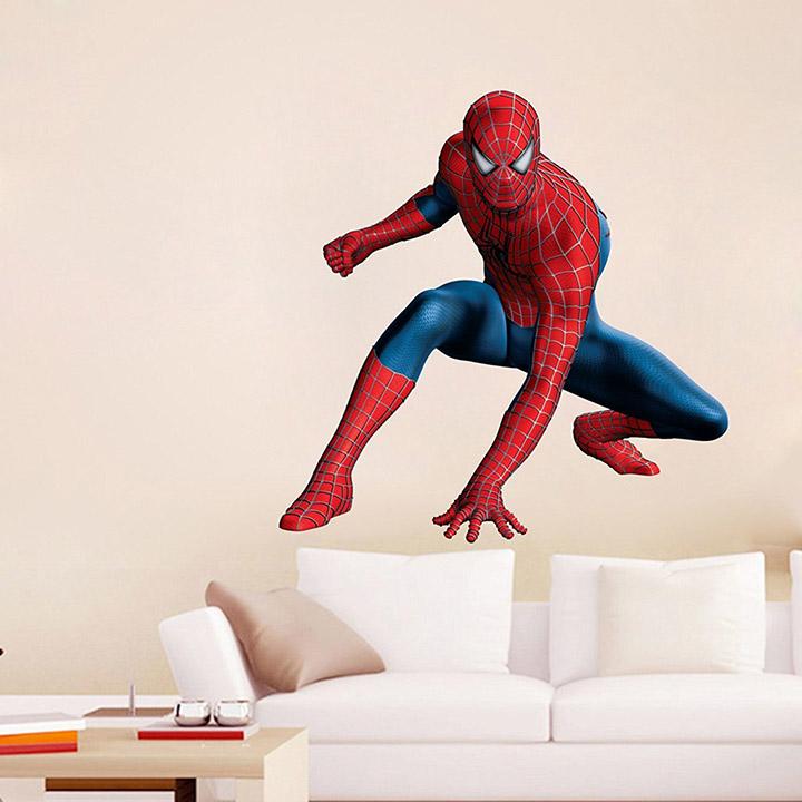pixel print vinyl 3d spiderman wall sticker