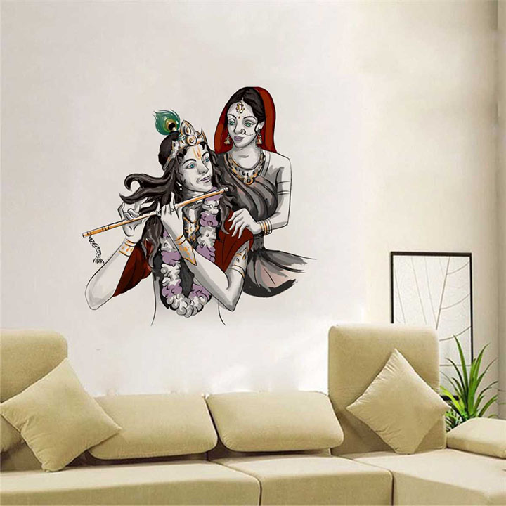 Rawpockets Lord Krishna with Radha' Wall Sticker