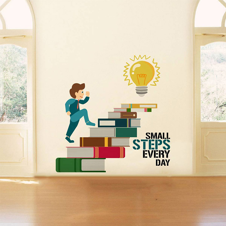 Rawpockets 'Small Steps Every Day Motivation Quote' Wall Sticker