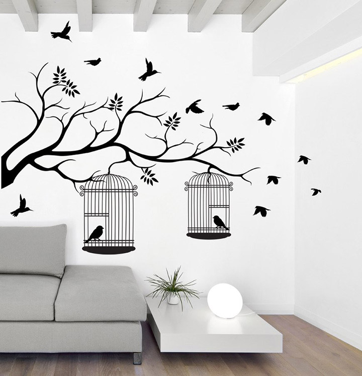 tree with birds and cages' wall sticker