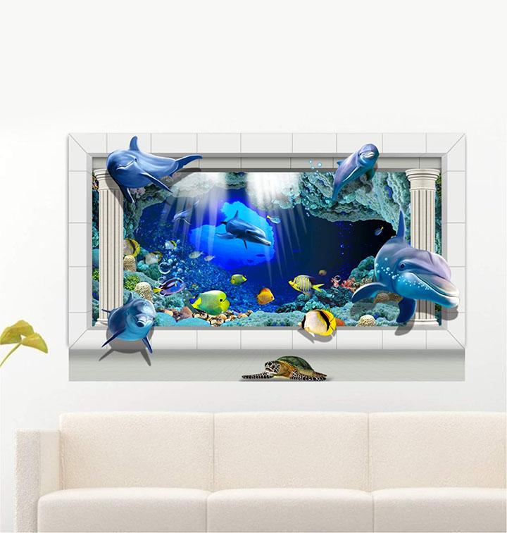 Underwater Fish Dolphin 3D Wall Sticker