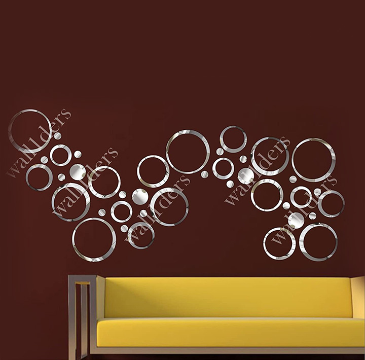 Wall1ders - Rings & Dots Silver (Pack of 40) 3D Acrylic Stickers