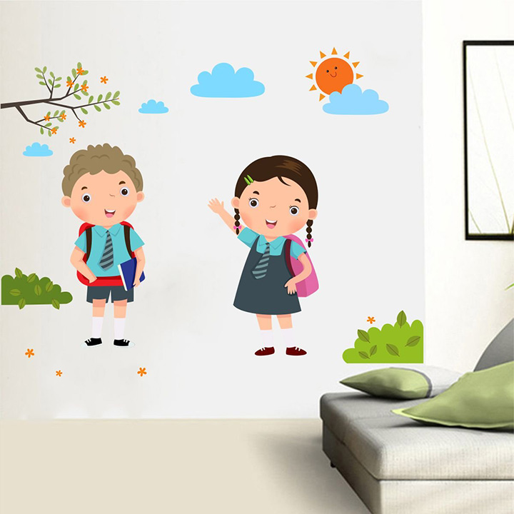 back to school boy and girl wall sticker
