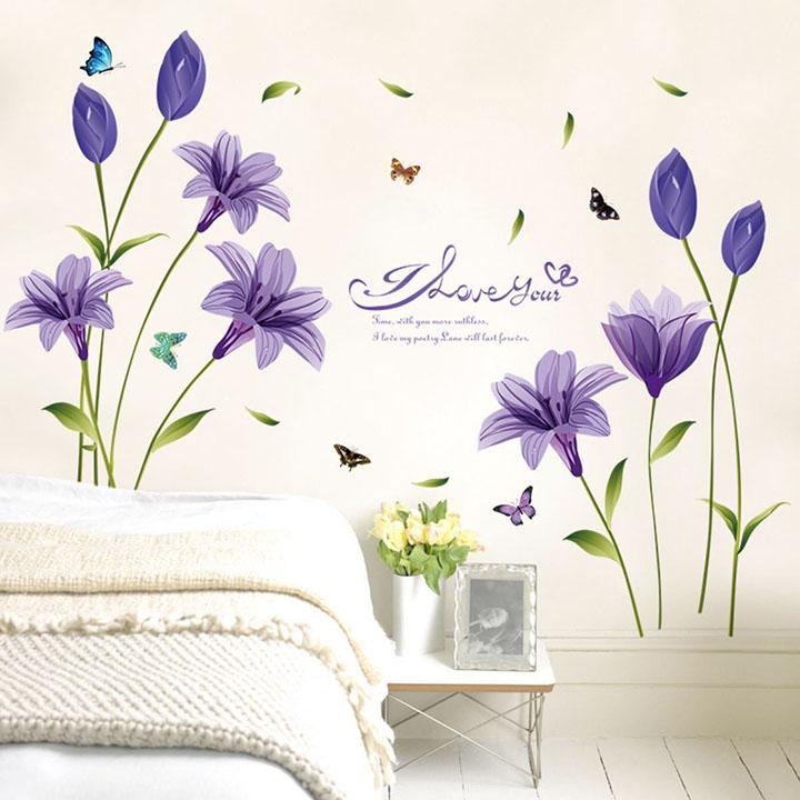 beautiful purple colored lily flower wall sticker