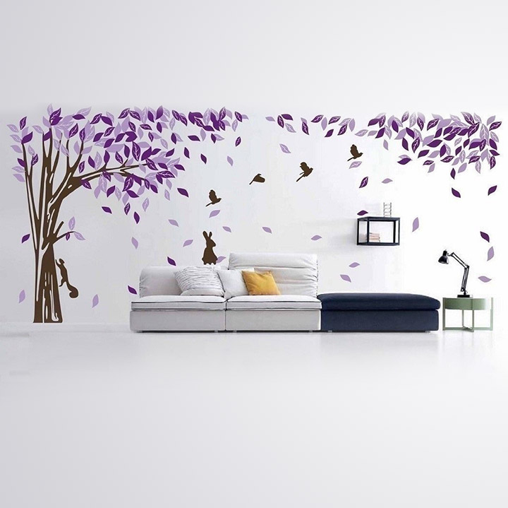 beautiful wall sticker of purple tree with birds, squirrel and a rabbit