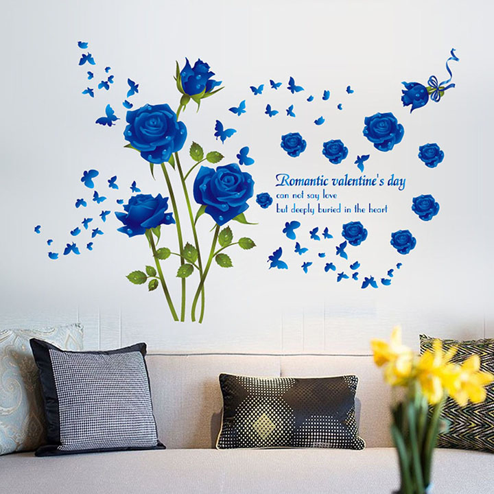berry blue roses wall sticker