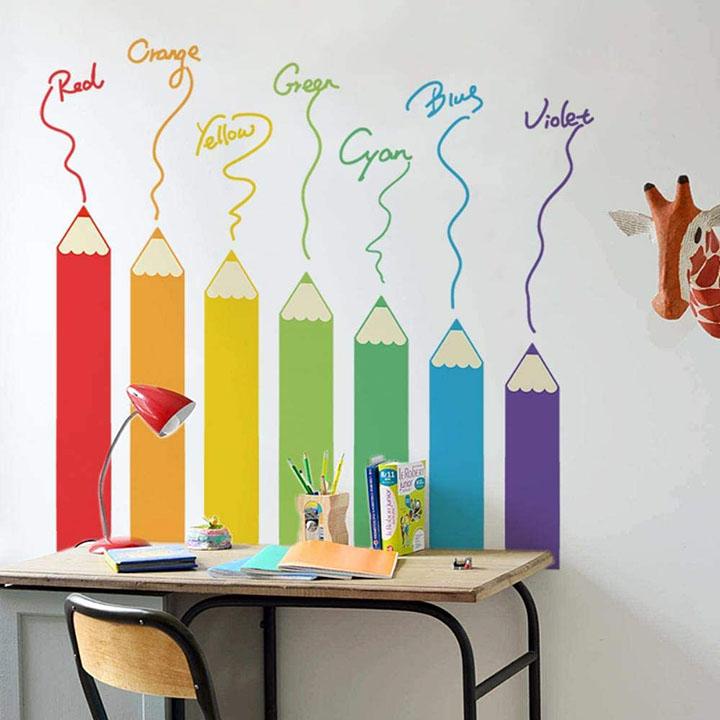 colorful color pencil design wall sticker