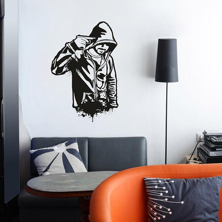 creatick studio Vinyl Polyvinyl chloride Gun Boy Wall Sticker