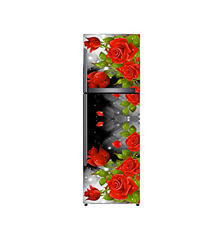decorative red rose green leaves on 3d extra large fridge wall sticker