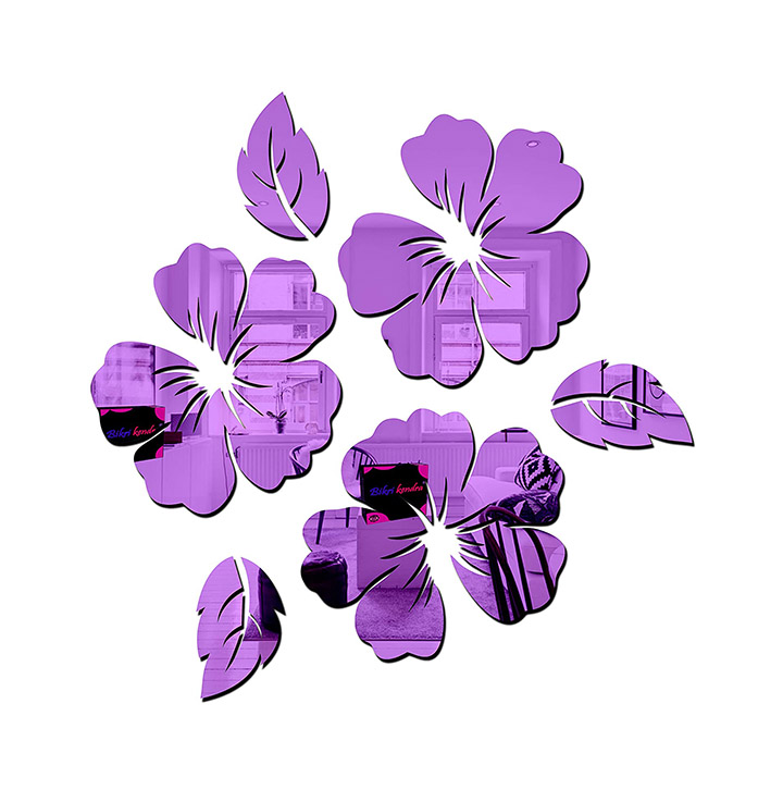 flower and leaf in purple color, wall sticker