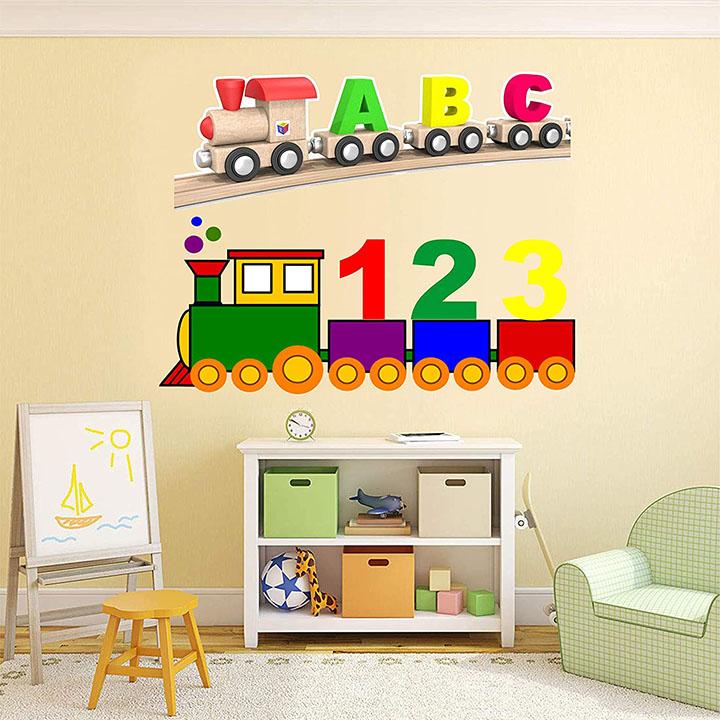 funny cartoon train alphabets abc 123 wall stickers