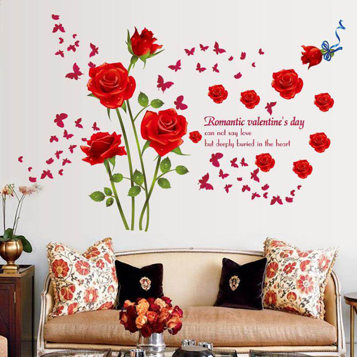 lovely red roses wall sticker