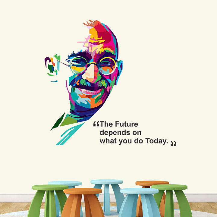 mahatma gandhi - father of nation - bapu wall stickers for school