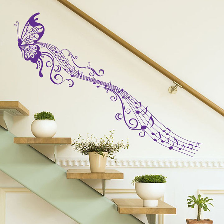 'musical butterfly' wall sticker