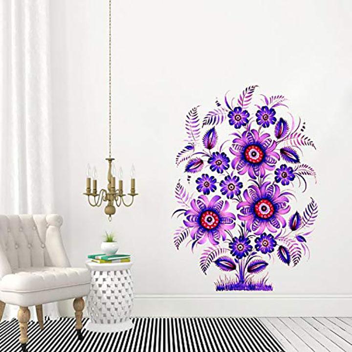 purple colour decorative floral wall sticker
