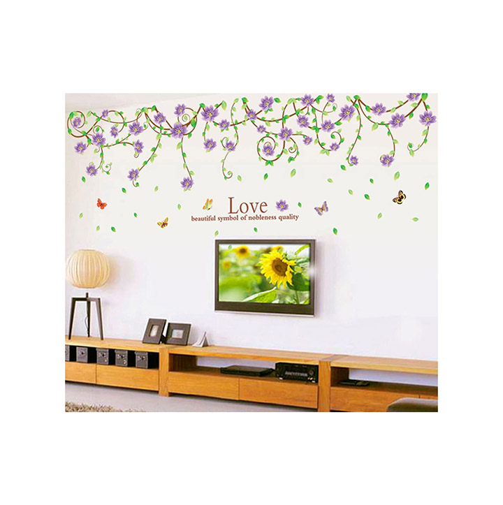 purple flower wall sticker with printing of love