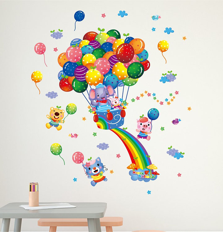 rainbow balloons wall sticker for kids
