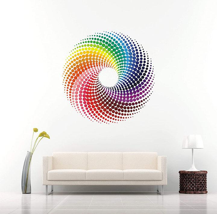 rainbow circle circle wall sticker